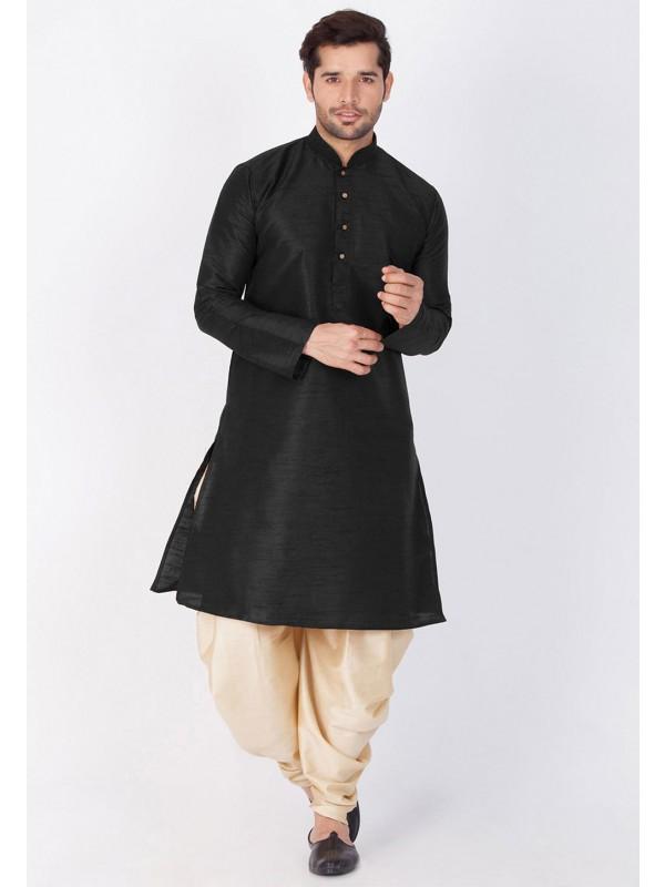 Black Color Cotton Silk Dhoti Kurta.
