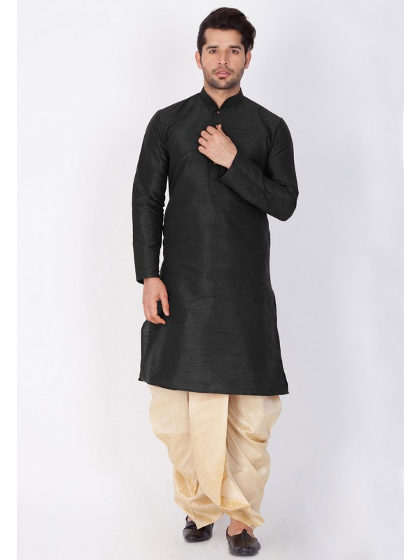 Men's Exquisite Black Color Dhoti Kurta.
