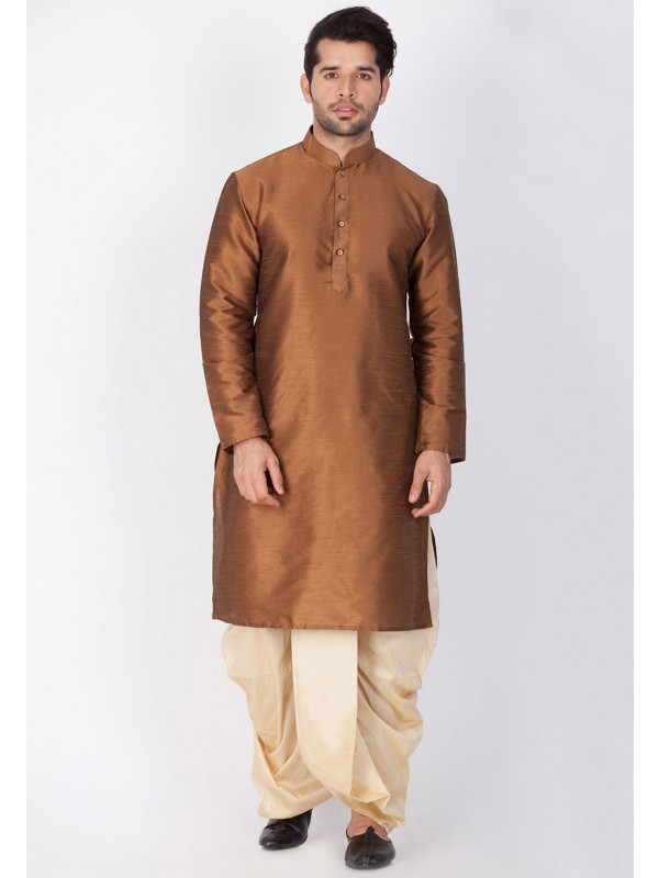Brown Color Cotton Silk Dhoti Kurta.