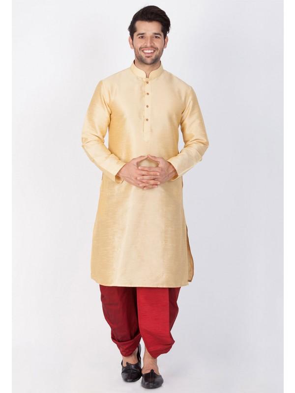 Golden Color Readymade Dhoti Kurta.