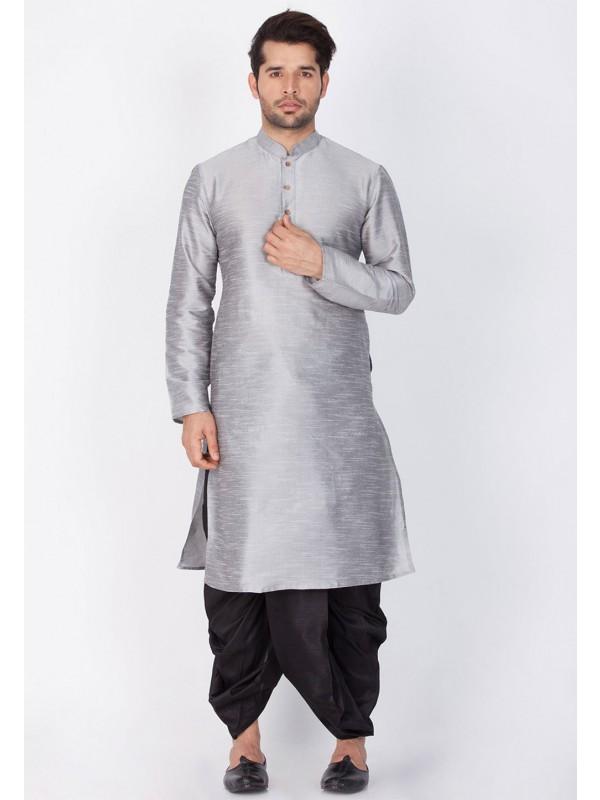 Grey Color Cotton Silk Dhoti Kurta.