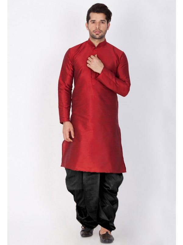 Maroon Color Cotton Silk Kurta Pajama.