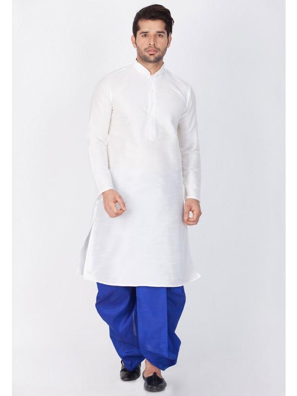White Color Designer Dhoti Kurta.