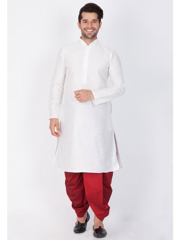 White Color Readymade Dhoti Kurta.