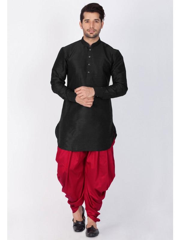 Black Color Party Wear Dhoti Kurta.