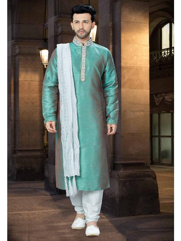 Green Color Readymade Kurta Pajama.