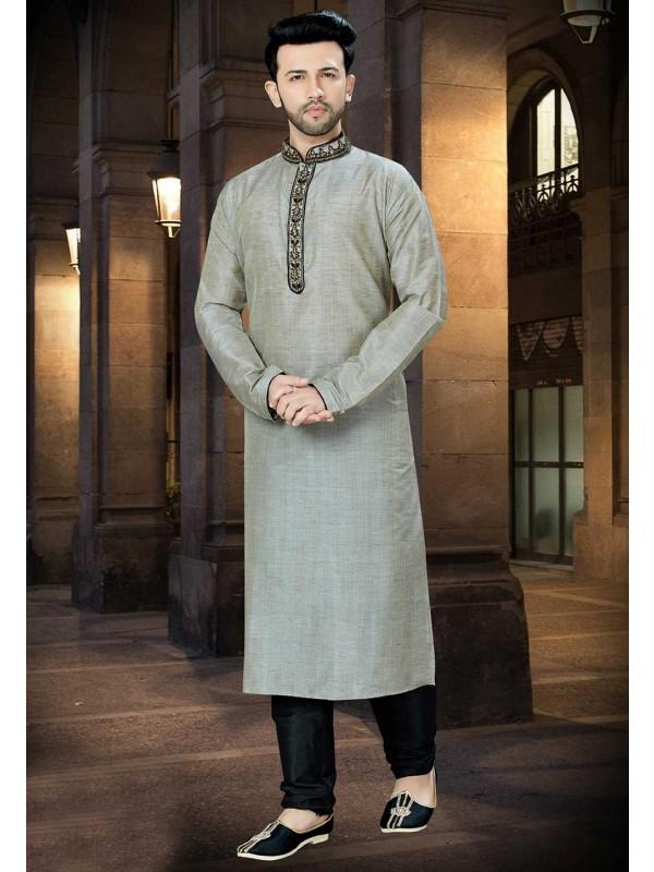 Grey Color Banglori Silk Kurta Pajama.