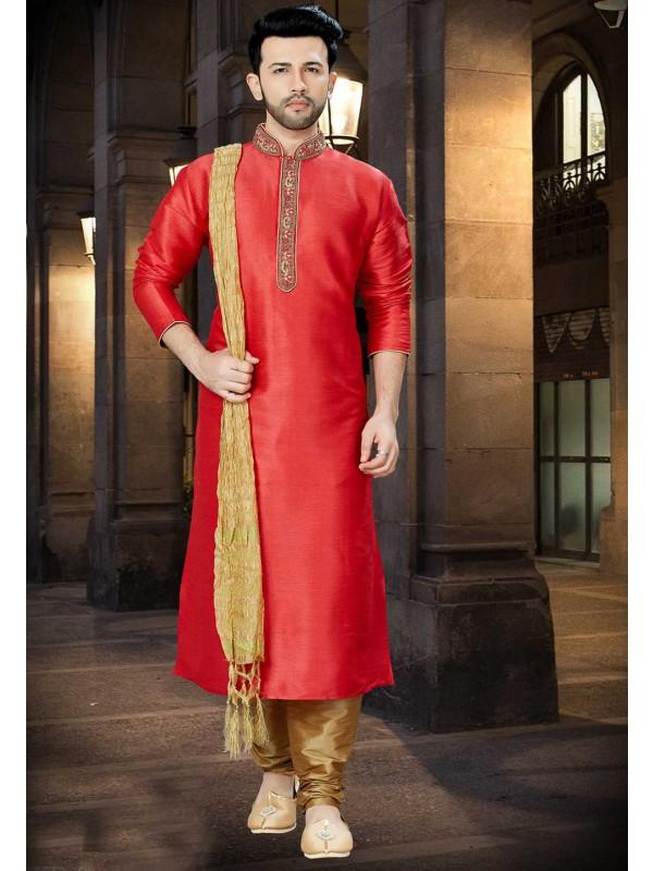 Red Color Party Wear Kurta Pajama.