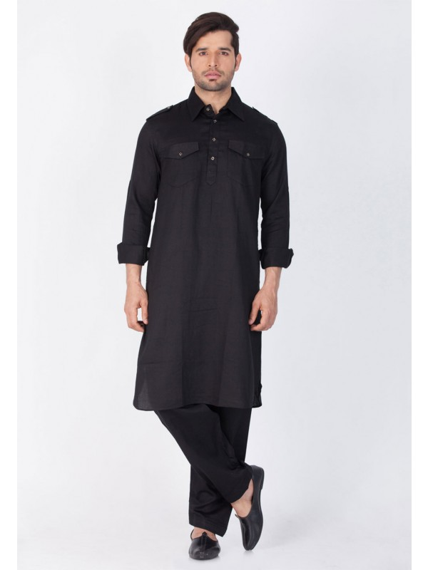 Black Color Pathani Kurta Pajama.