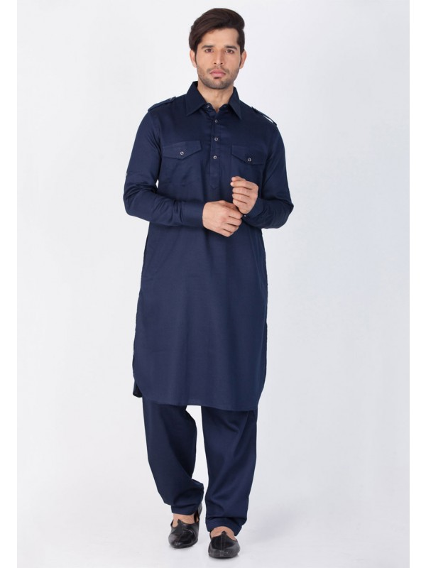 Blue Color Cotton Pathani Kurta Pyjama.