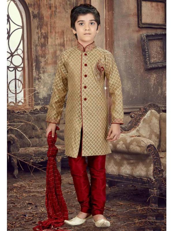 Golden Color Boy's Kurta Pajama.