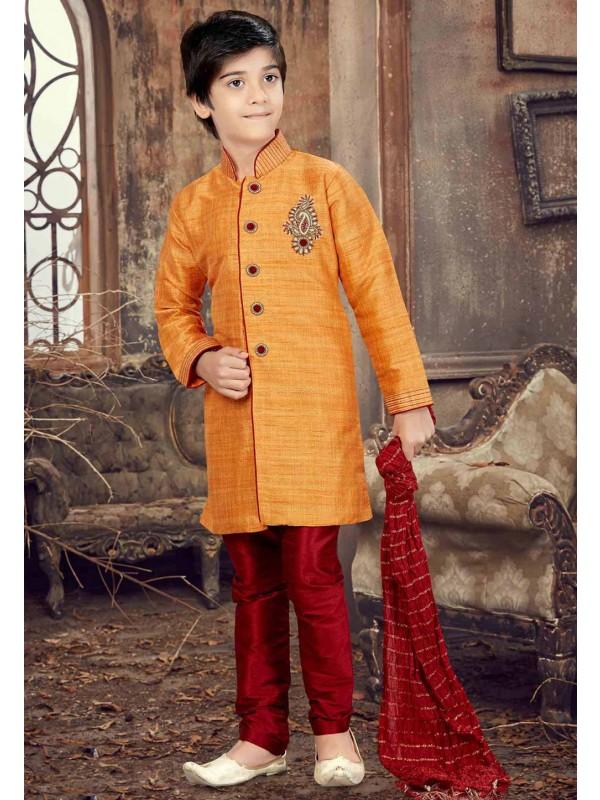 Orange Color Boy's Designer Kurta Pajama.