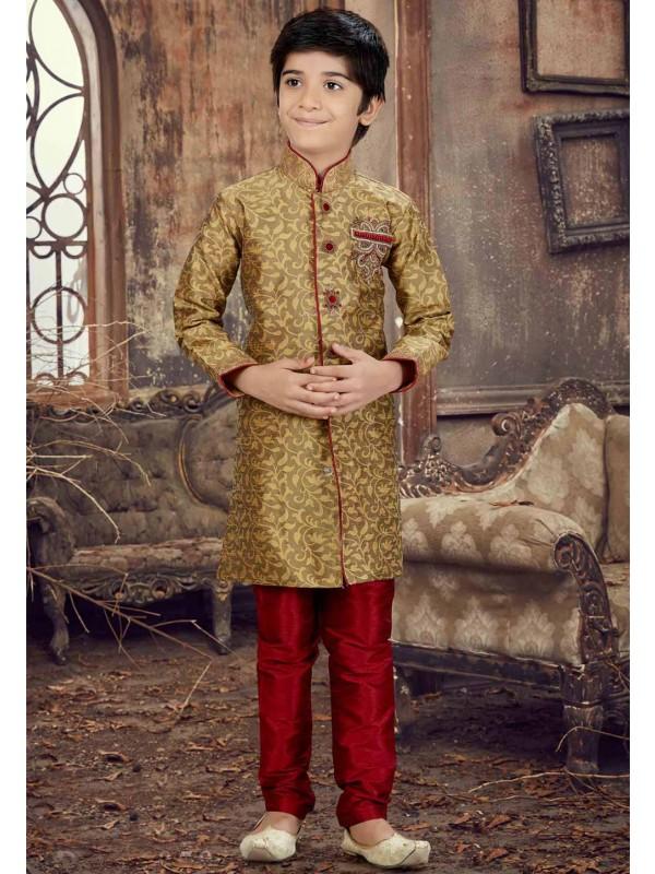 Exquisite Brown Color Boy's Kurta Pajama.