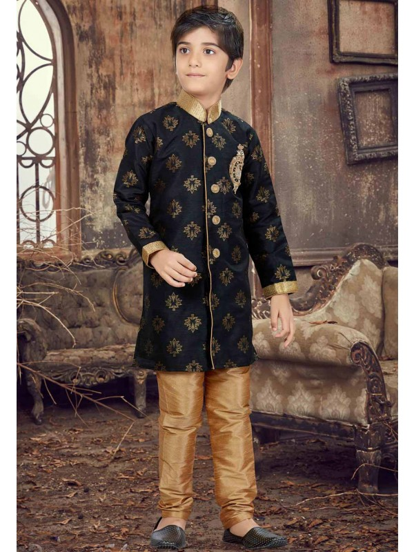 Black Color Boy's Party Wear Kurta Pajama.