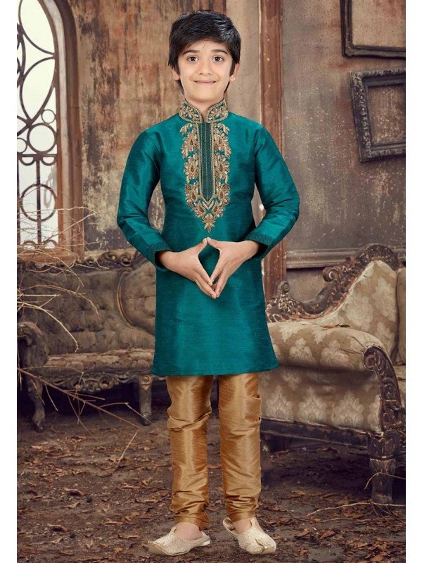 Green Color Boy's Kurta Pyjama.