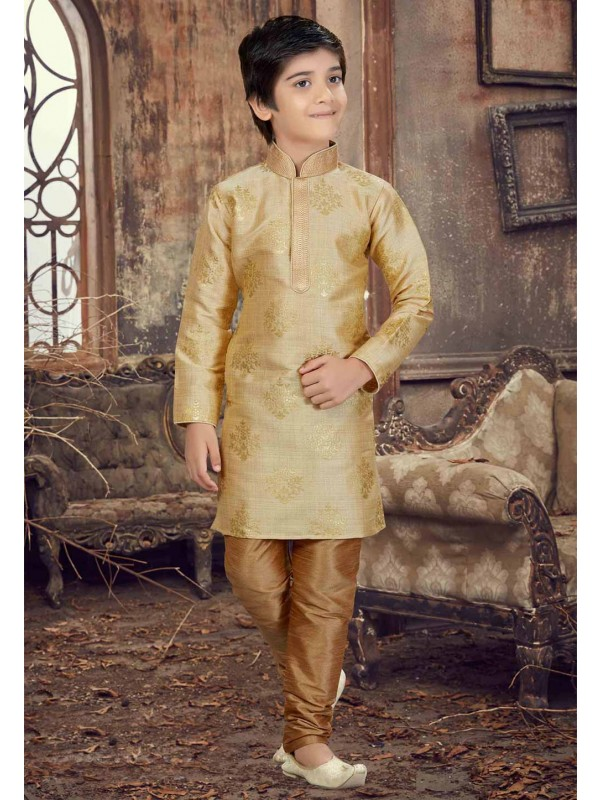 Golden Color Silk Boy's Kurta Pajama.