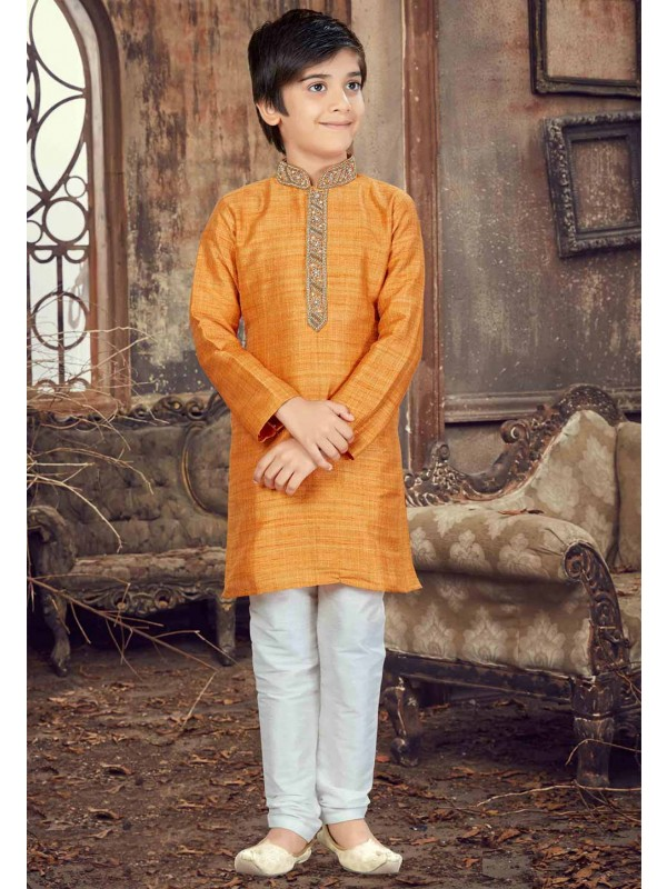 Yellow,Orange Color Boy's Kurta Pajama.