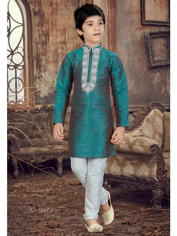 Green Color Boy's Readymade Kurta Pajama.