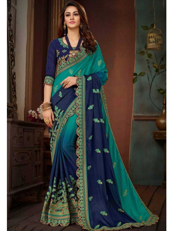 Green,Blue Color Party Wear Saree.