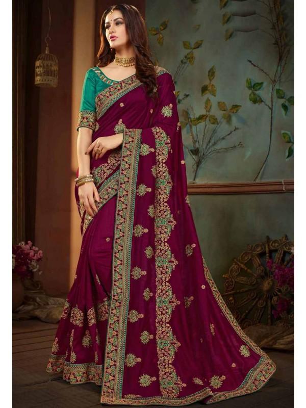 Purple Color Embroidered Saree.