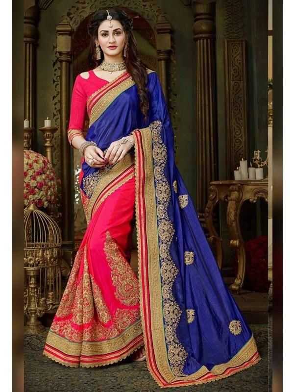 Blue,Pink Color Art Silk Saree.