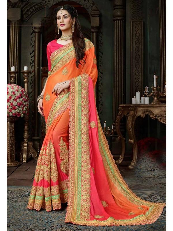 Orange,Pink Color Embroidery Saree.