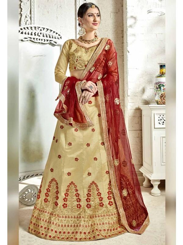 Beige Color Indian Wedding Lehenga.