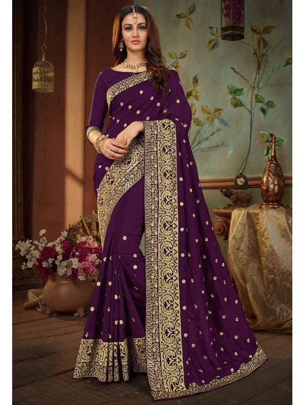 Purple Color Silk Sari.