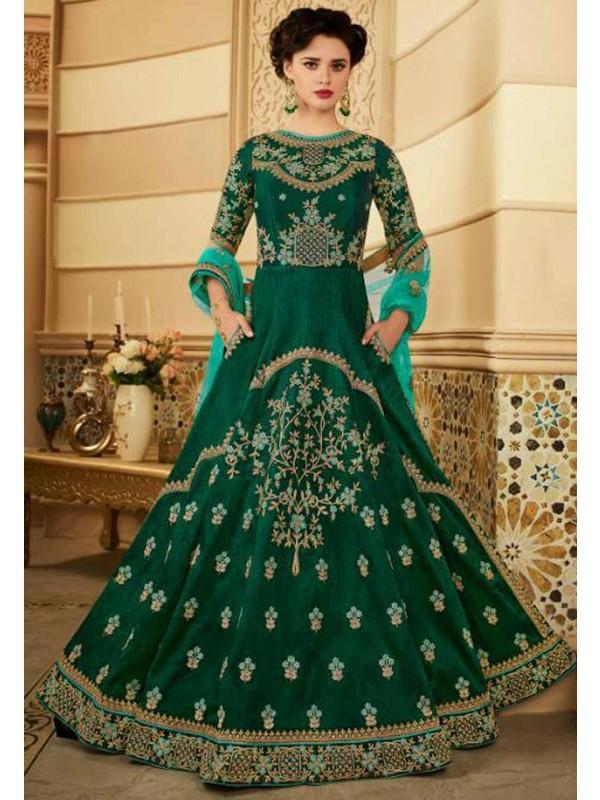 Green Color Designer Gown.