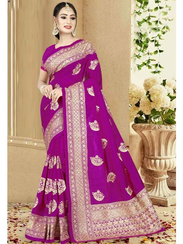 Magenta Color Designer Sari.