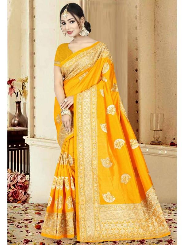 Orange Color Saree.