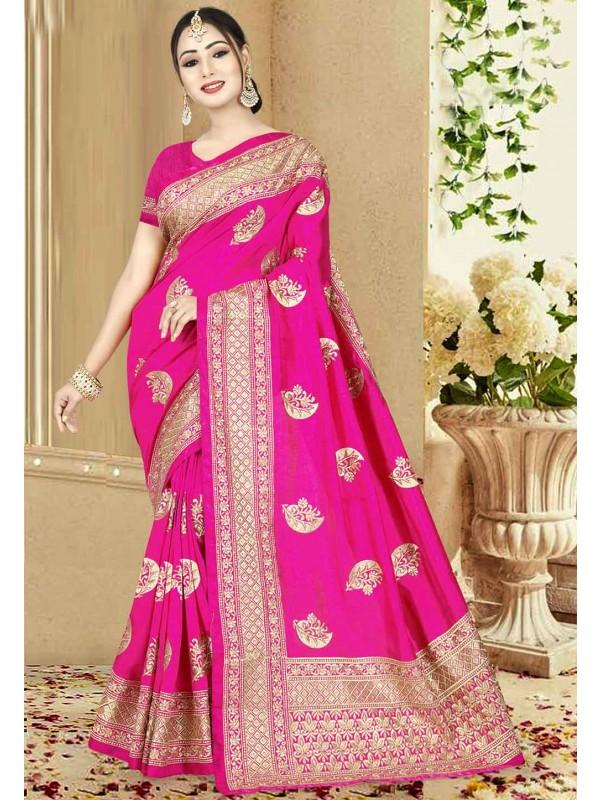 Pink Color Indian Saree.