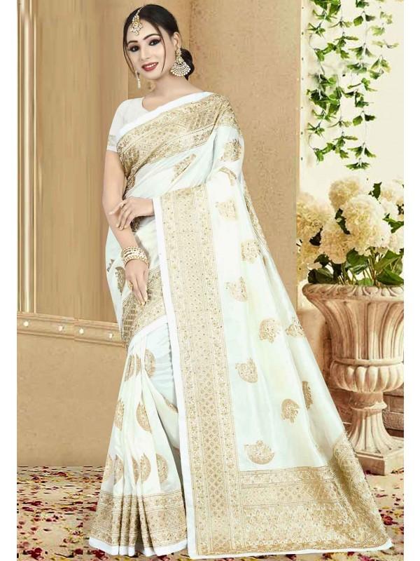 Off White Color Art Silk Saree.