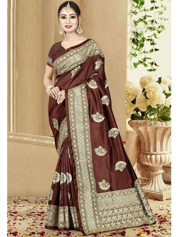 Brown Color Designer Saree.