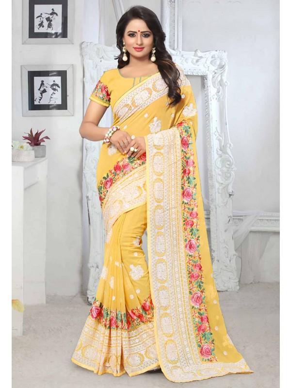 Yellow Colour Designer Saree.