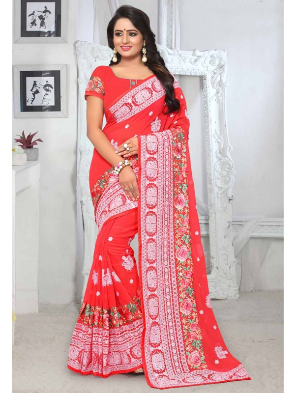 Red Colour Saree.