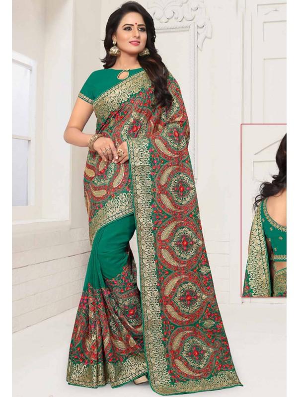 Green Colour Traditional Saree.