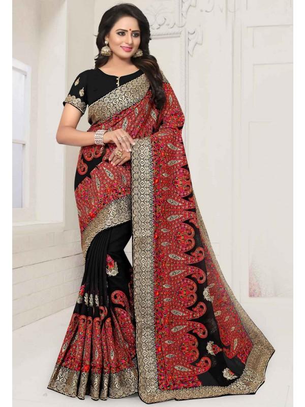 Black Colour Indian Saree.