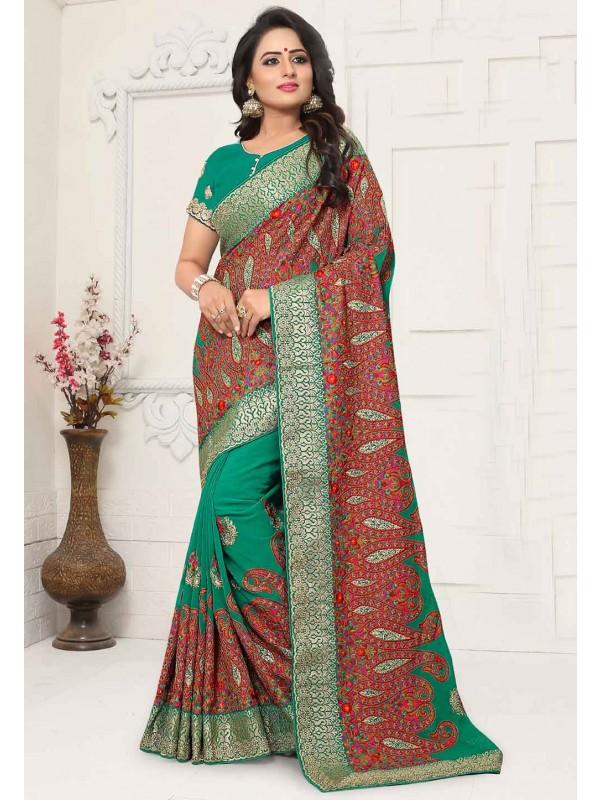 Green Colour Indian Traditional Saree.