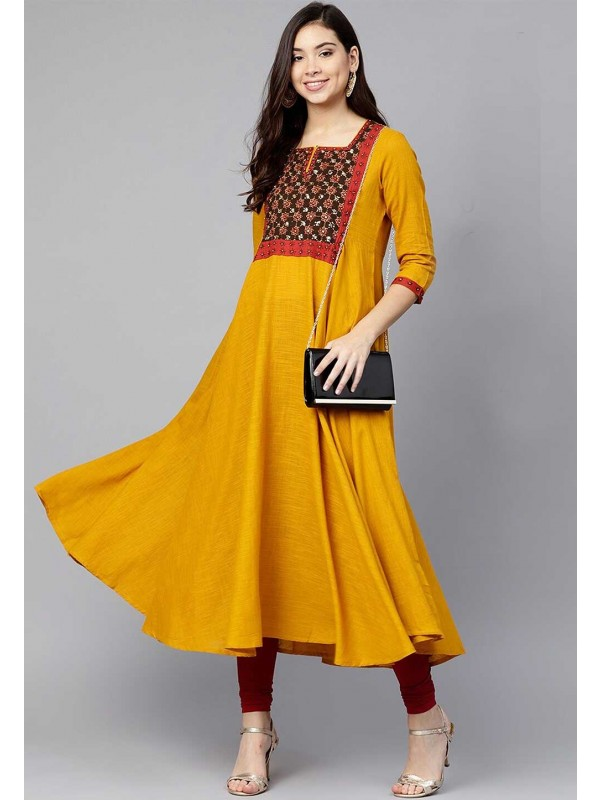 Yellow Colour Party Wear Kurti.