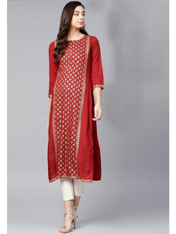 Red Colour Readymade Kurti.