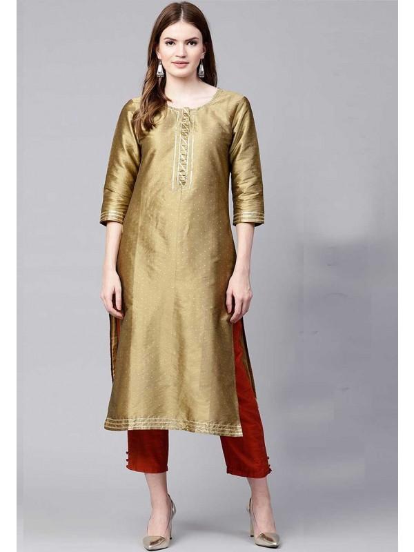 Golden Colour Readymade Kurti.