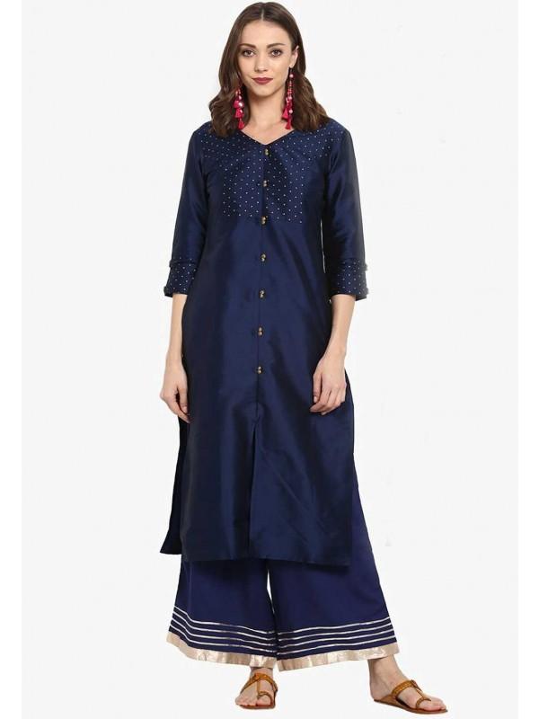 Blue Colour Silk Kurti.