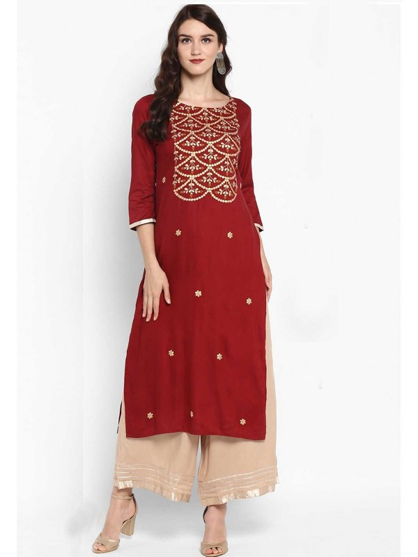 Red Colour Indian Kurti.