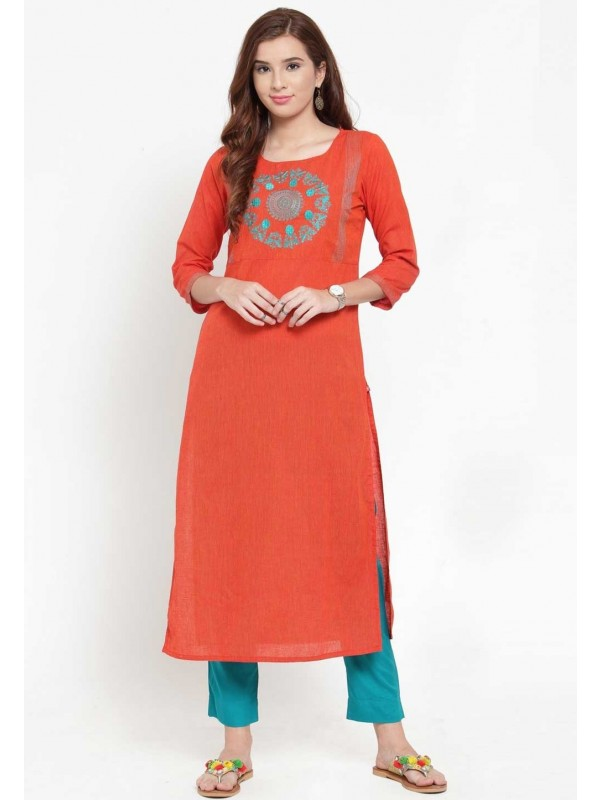 Orange Colour Straight Kurti.