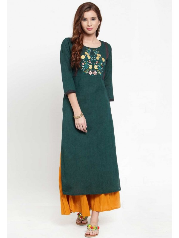 Green Colour Casual Kurti.