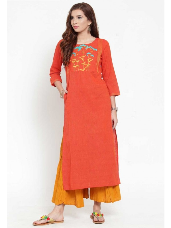 Orange Colour Cotton Kurti.