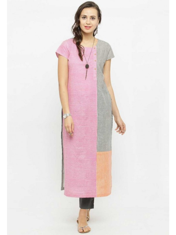 Pink Colour Cotton Kurti.