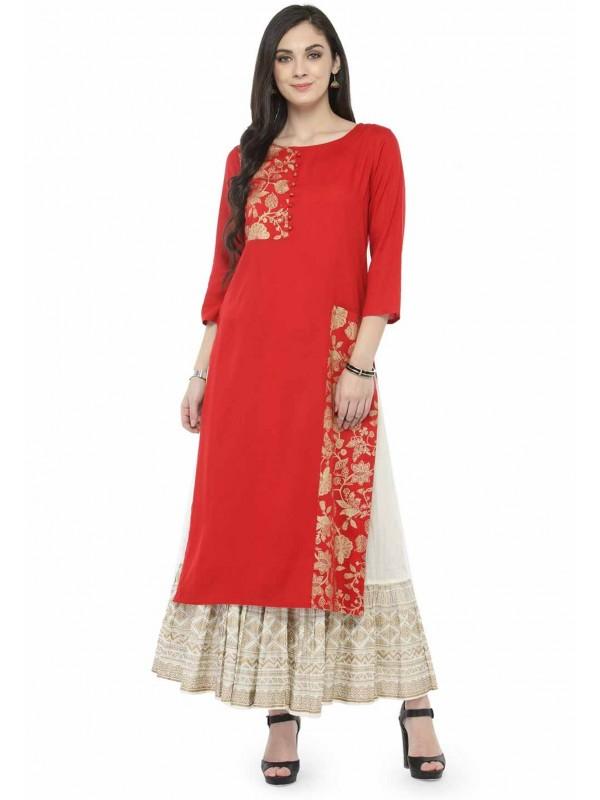 Red Colour Designer Kurti.
