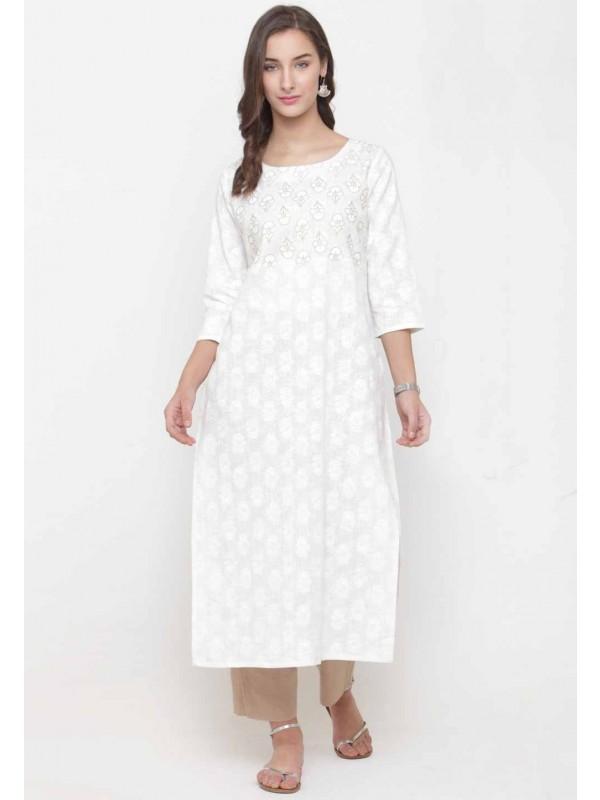 White Colour Casual Kurti.